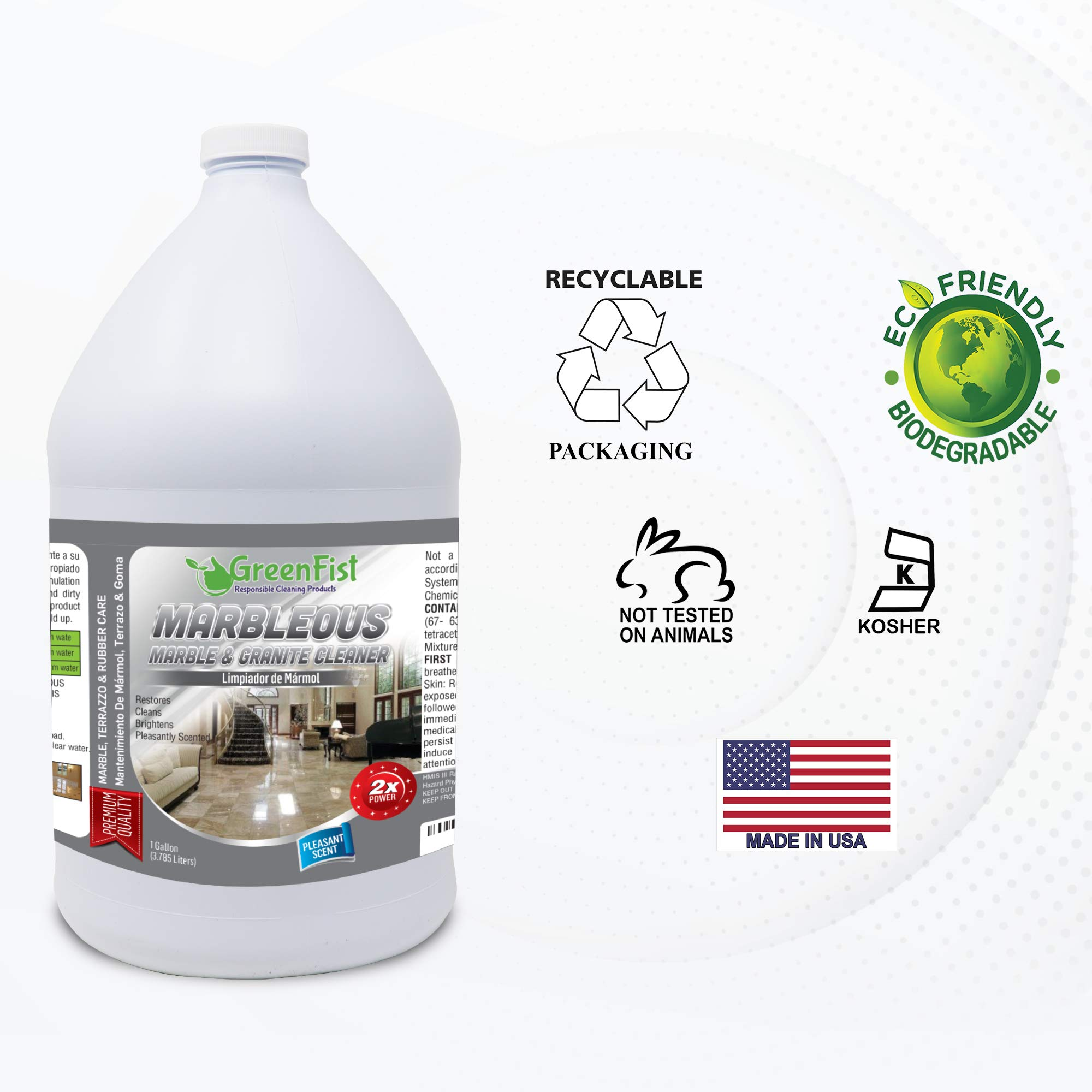 GreenFist Marbleous Marble Cleaner and Other Stone Surfaces Brightener & Restorer [Tile,Countertop,Porcelain,Lime-Stone,Ceramic,Granite,Brick,Vinyl] (1 Gallon) by GreenFist (Image #6)