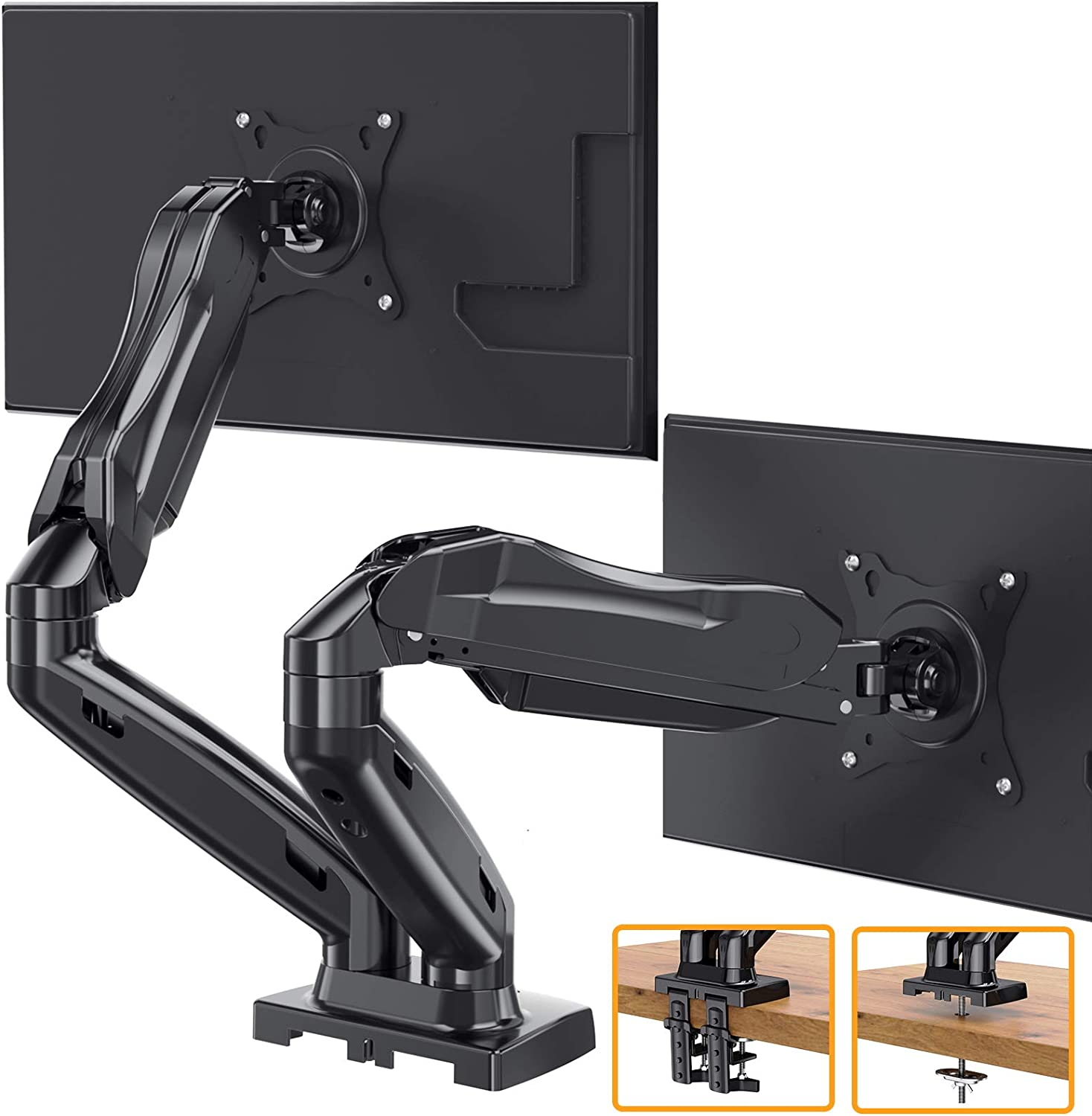 ErGear Dual Arm Monitor Mount Stand, Adjustable Gas Spring Monitor Desk Mount, Swivel VESA Mount with C Clamp, Grommet Mounting For Most 17-27 Inch Flat Curved Computer Monitor Screens up to 14.3lbs