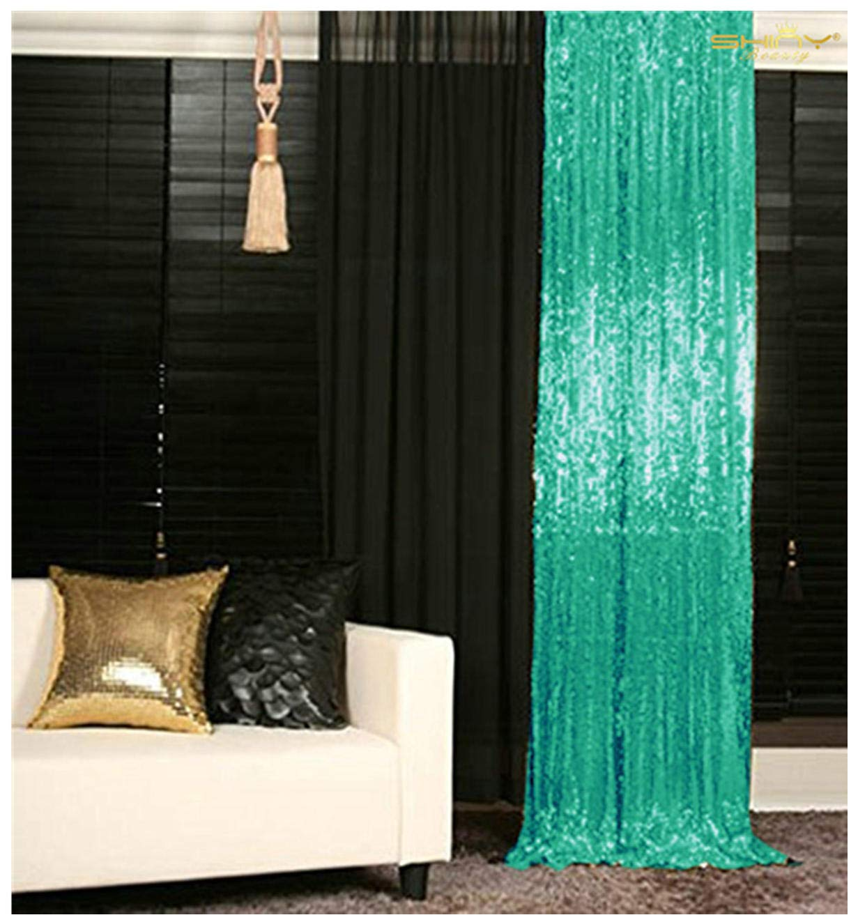 Sequin Curtains 4 Panels 2FTx8FT Matte Green Glitter Backdrop Curtain Teal 24x96-Inch Photo Backdrop Sequins Shower Curtain Set Wedding Decorations -190613J