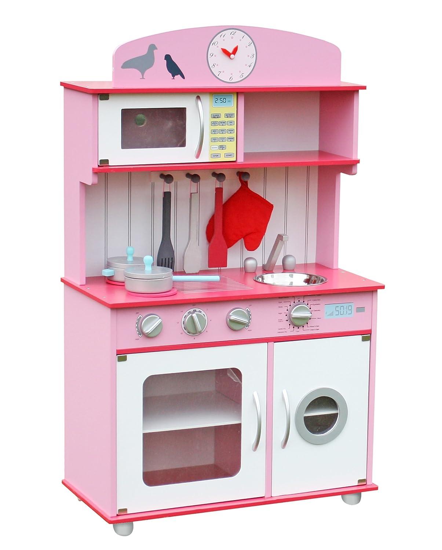 W10C026F Kinderküche Spielküche aus Holz mit Zubehör ROSA ...
