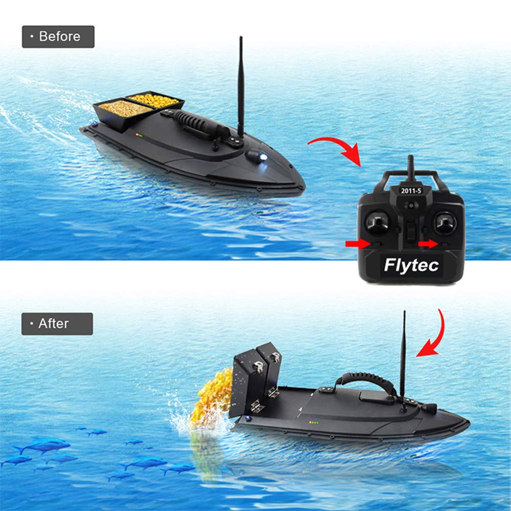 Aumee 2.4GHz RC Boat, Double Motors Two Separate Bait Tanks Electric Radio Bait Fish Finder for Pool & Outdoor Adventure Use to Kids Or Adults (Black) by Aumee (Image #9)