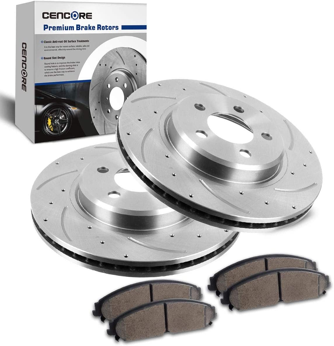 Front Ceramic Brake Pads /& Rear Brake Shoes For Jeep Cherokee 1986-1989