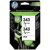 HP CB332EE - Pack de 2 cartuchos de tinta HP 343 (amarillo, cian, magenta)