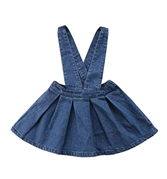 6a2db2b7c03 XARAZA Toddler Baby Girls Strap Suspender Skirt Overalls Dress Outfit  (Blue