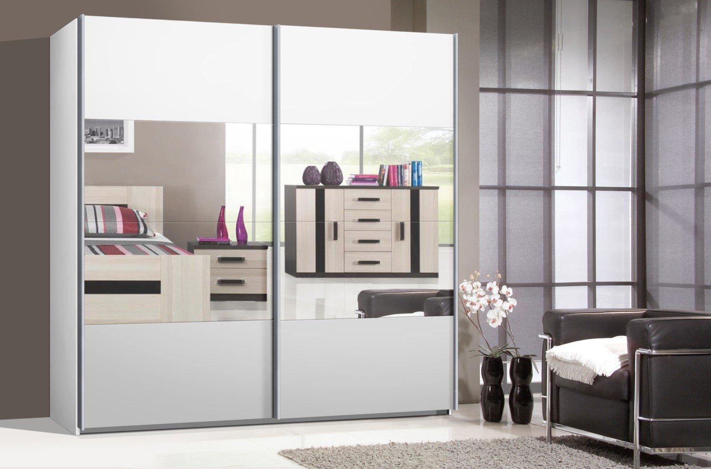 Schwebetürenschrank weiß mit spiegel  Schwebetürenschrank, Kleiderschrank, ca. 225 cm, Weiss mit Spiegel ...