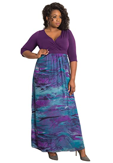 7dcf81e9594 IGIGI Womens Plus Size 3 4 Sleeve Curve-cinching Full-Length Maxi Dress - Aisha  Sunset 34 36 at Amazon Women s Clothing store