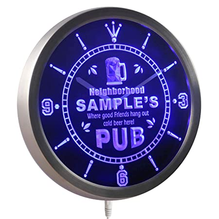 ADVPRO ncpg-tm Neigborhood Pub Personalized Your Name Bar Beer Mug Neon Sign LED Wall Clock