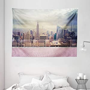 Ambesonne Modern Tapestry, New York City USA Landscape from Roof Apartment Balcony Photograph Image, Wide Wall Hanging for Bedroom Living Room Dorm, 80