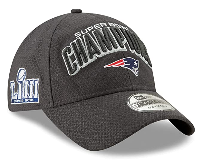 timeless design aa5eb 5e869 Amazon.com   New Era New England Patriots Super Bowl LIII Champions Parade  9Twenty Snapback Adjustable Hat - Graphite   Clothing