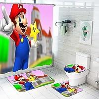 Fgolphd Super Mario - Cortina de ducha, diseño de Super Mario, 180 x 200 cm, resistente al agua, 4 piezas (180 x 180,1)