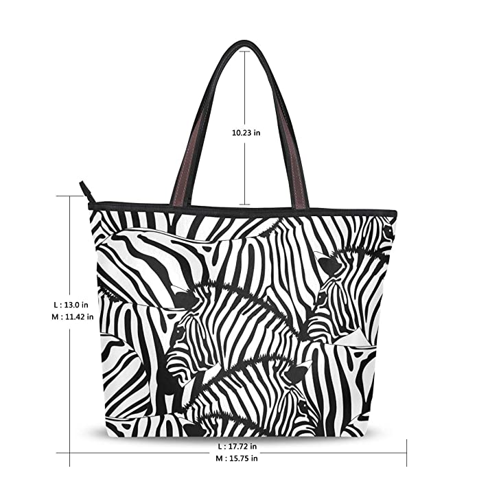 Amazon Com My Daily Women Tote Shoulder Bag Zebra Black White