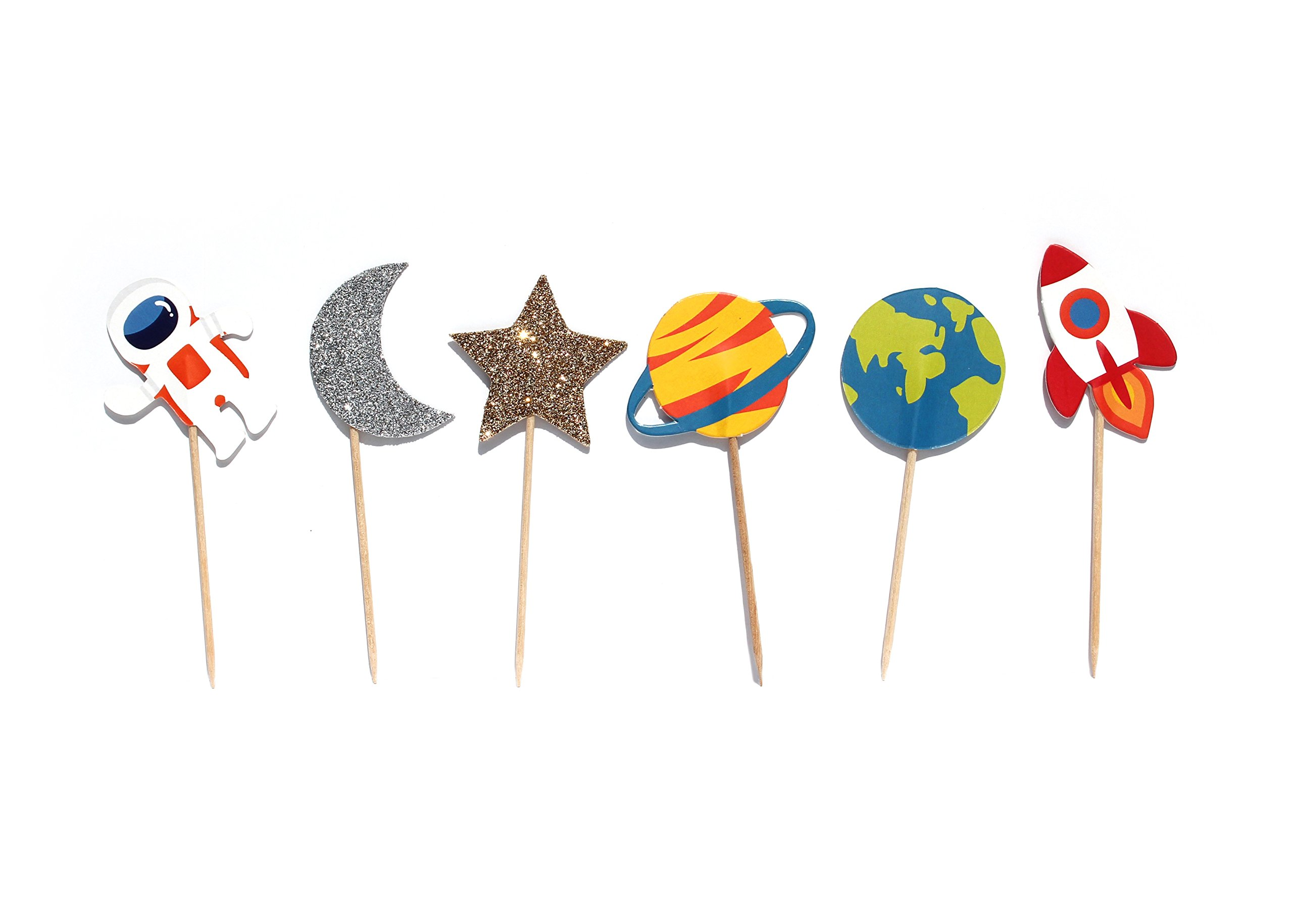 Trip to The Moon- Cupcake, Cake Toppers | 12 Pack | Outer Space Decorations | Birthday | Baby Shower | Rocket, Planet, Astronaut Theme | Outer Space Party Supply | Food Pick