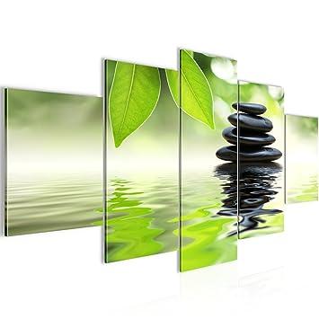 Bilder Feng Shui Steine Wandbild 200 x 100 cm Vlies - Leinwand Bild XXL  Format Wandbilder Wohnzimmer Wohnung Deko Kunstdrucke Grün 5 Teilig - MADE  IN ...