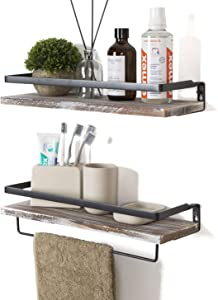 SODUKU Floating Shelves Wall Mounted Storage Shelves for Kitchen, Bathroom,Set of 2 White Washed