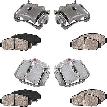Ceramic Brake Pads Kit 4 Premium Grade Semi-Loaded OE Caliper FRONT REAR