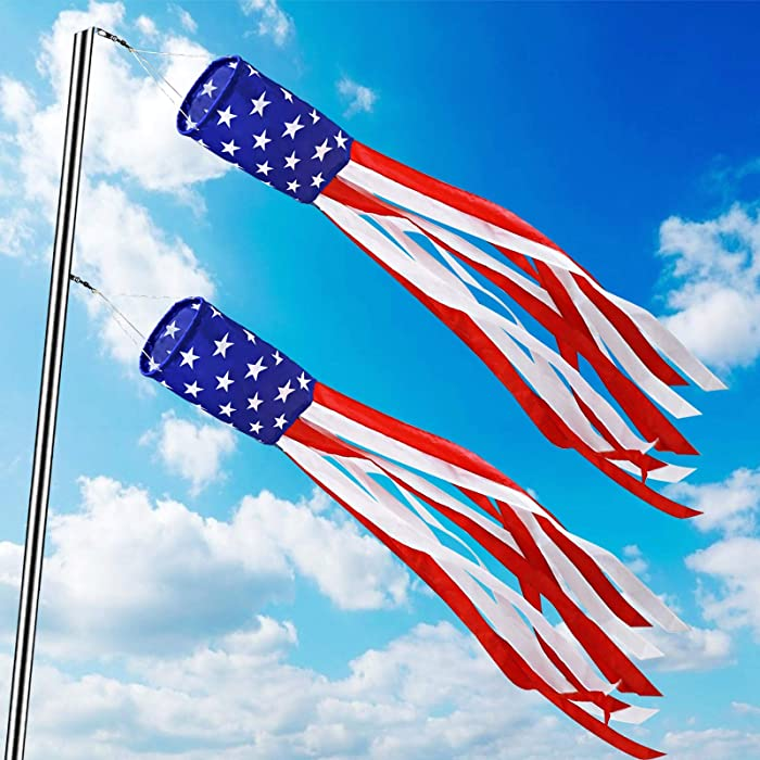 TURNMEON 2 Pack American USA Flag Windsocks 4th of July Decorations,Stars & Stripes Red White Blue Patriotic Decoration 40 Inch Windsock Outdoor Hanging Garden Yard Memorial Day Independence day Decor