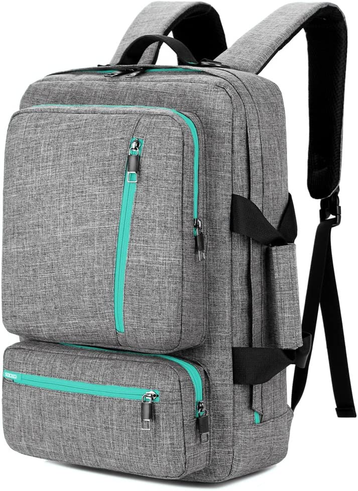 SOCKO 17 Inch Laptop Backpack Convertible Backpack Travel Computer Bag Hiking Knapsack Rucksack College Shoulder Back Pack Fits up to 17 Inches Laptop Notebook for Men/Women, Grey-Green