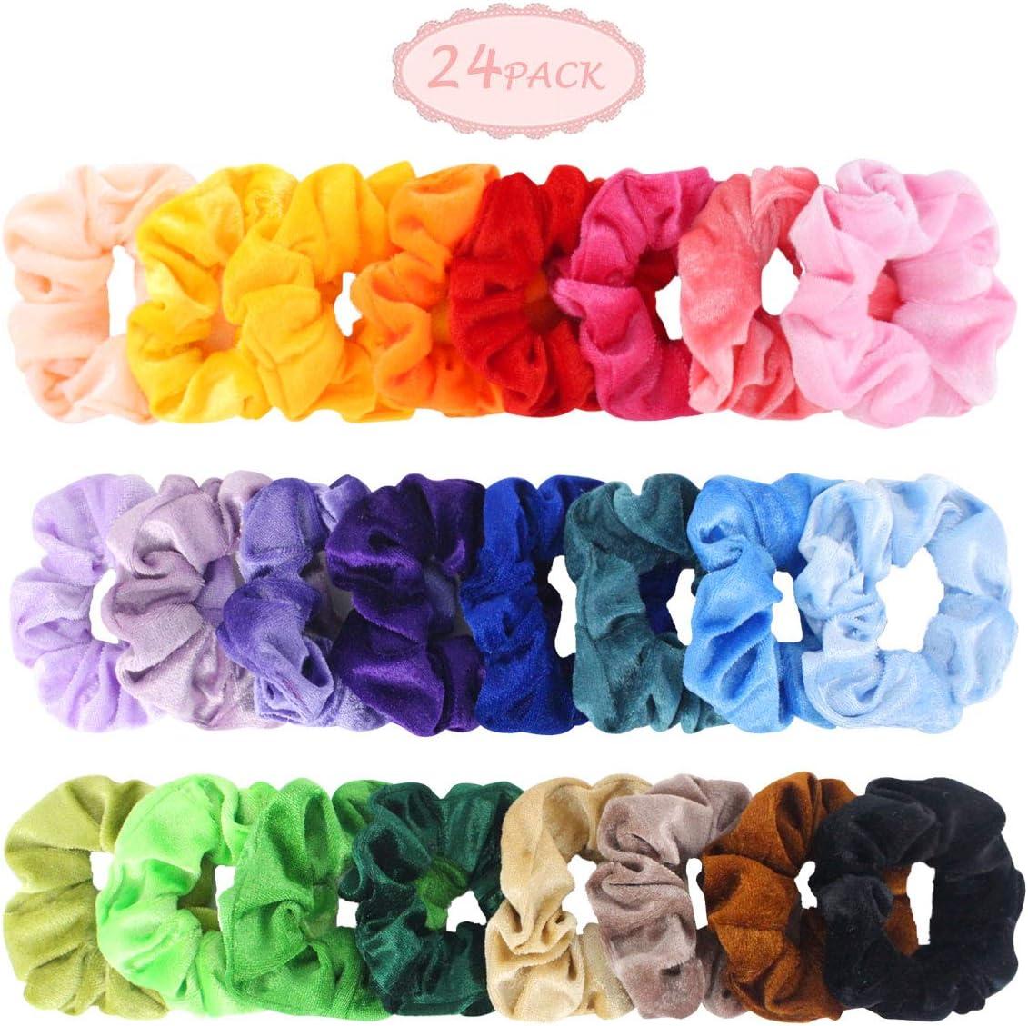 20PCS//Set Velvet Hair Scrunchies Elastic Scrunchy Bobbles Ponytail Holder UK