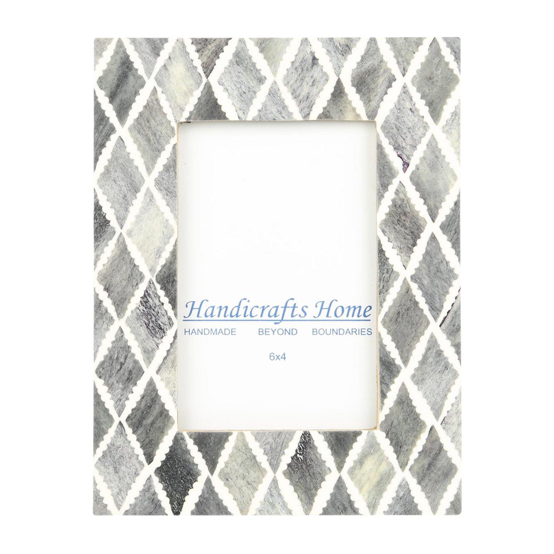 Handicrafts Home 4x6 Photo Frame Grey White Bone Mosaic Moroccan ...
