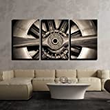"""wall26 - 3 Piece Canvas Wall Art - Vintage Propeller Aircraft Engine Engineering Closeup - Modern Home Decor Stretched and Framed Ready to Hang - 24""""x36""""x3 Panels"""