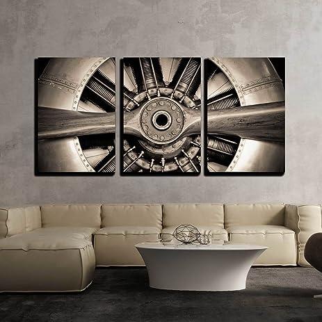 wall26 3 piece canvas wall art vintage propeller aircraft engine engineering closeup modern
