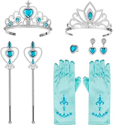 Biubee 9 Pcs Princess Dress Up Party Costume Accessories Set for Cosplay: 2 Tiaras+ 2 Wands+ Gloves, Earrings and Ring Blue