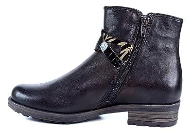 Gabor Comfort 32.783 Damen StiefelStiefelette (Biker Boots) mit Reißverschluss im Animal Print Leder