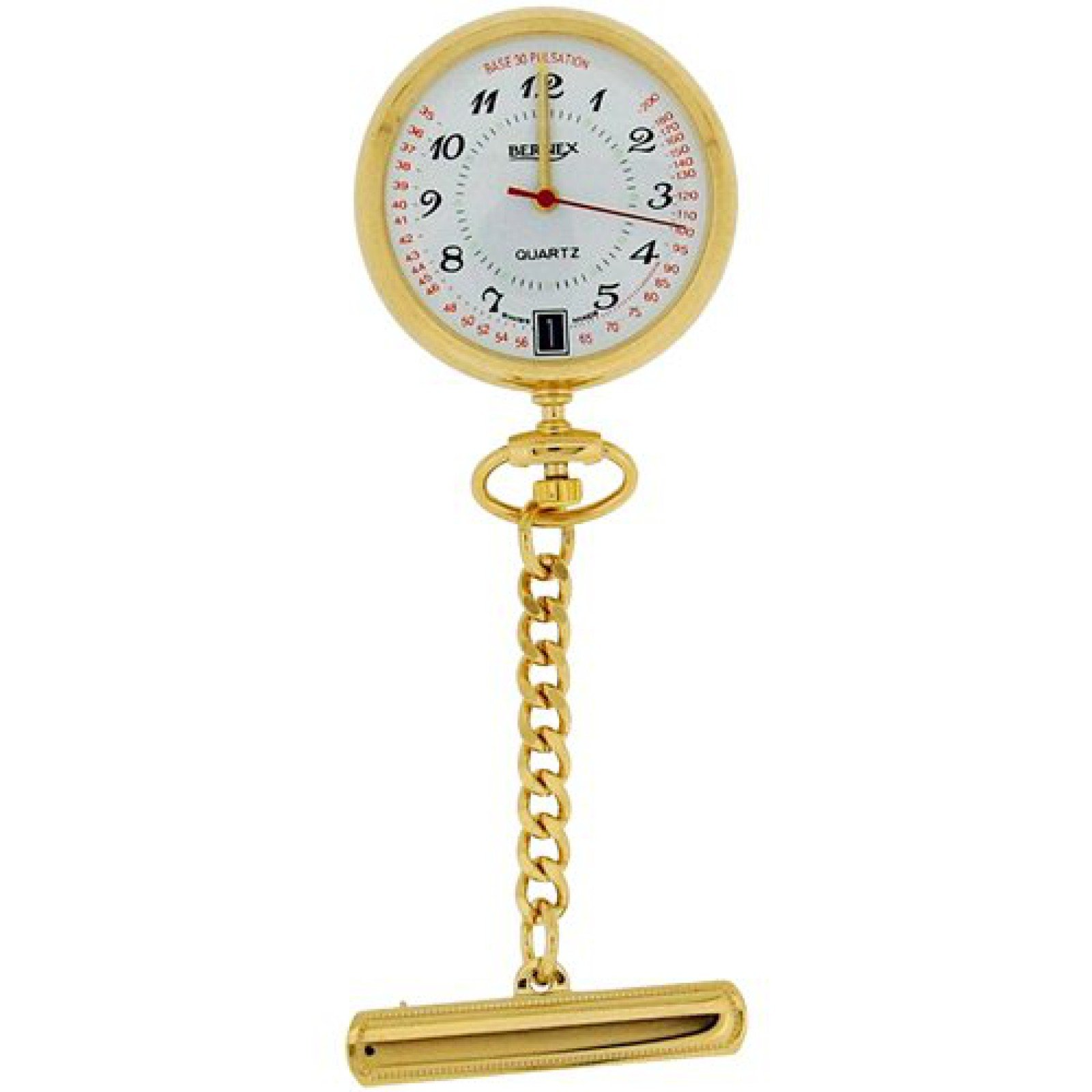 Bernex Unisex Swiss Movement Date Goldtone Nurses Fob Watch Branded Box GB31101