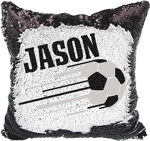 Soccer Sequin Pillow, Personalized Soccer Reversible Sequin Pillow Black White
