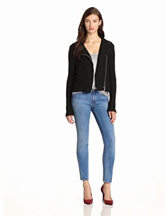 Rebecca Taylor Women's Boucle Moto Jacket, Black, 2
