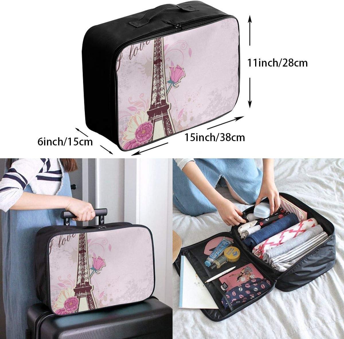 Travel Bags Love Paris Portable Tote Unique Trolley Handle Luggage Bag