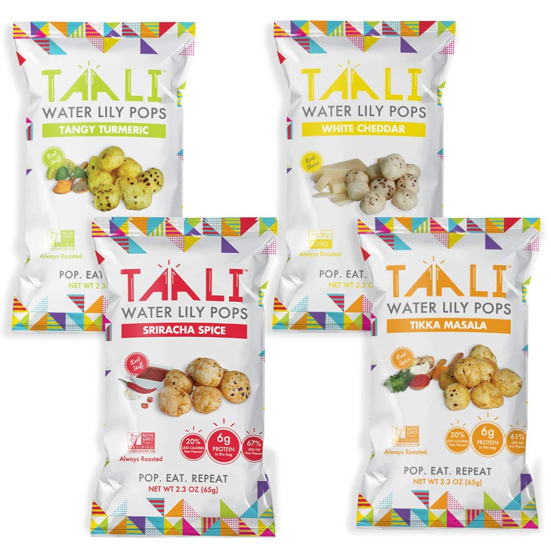 Taali Variety Pack Water Lily Pops (4-Pack) - Four Delicious Flavors. Now with Sriracha! | Protein-Rich Roasted Snack | Non GMO Verified - 2.3 oz Multi-Serve Bags by Taali (Image #1)