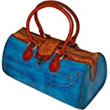 Genuine Leather Large Handbag with Jeans Designs,attractive Blue.truly Handmade