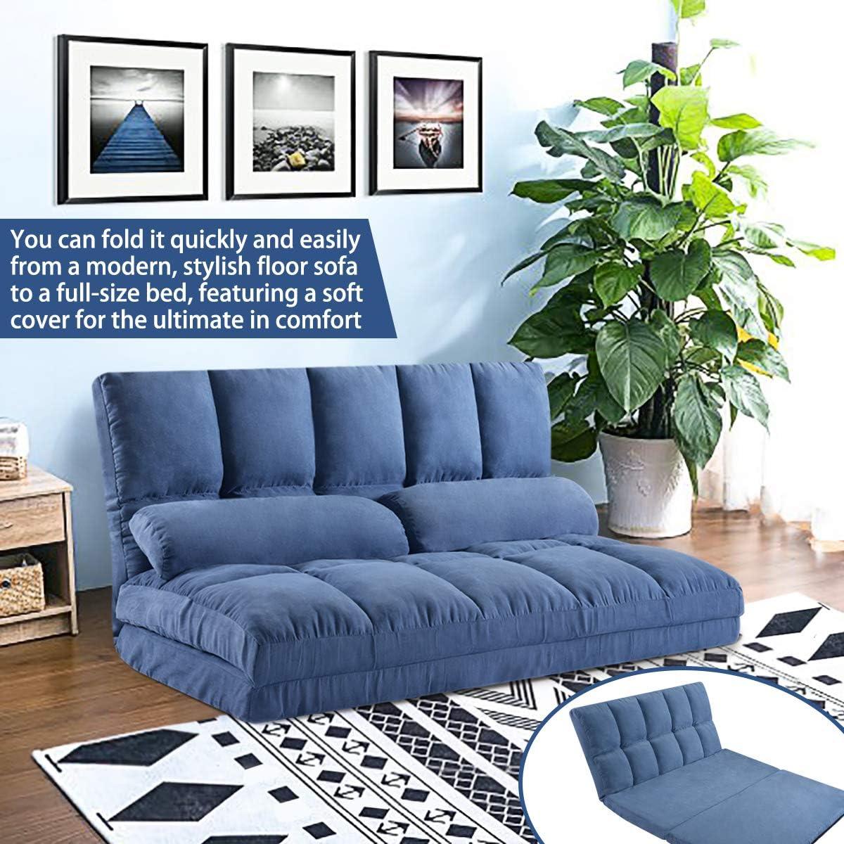 Merax Floor Sofa Bed, Foldable Sleeper Sofa Bed, Adjustable Fabric Folding Sofa Floor with 2 Pillows (Blue)