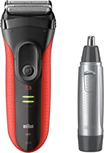 Braun Series 3 3030s Shaver with Nose Trimmer Value Bundle, Red