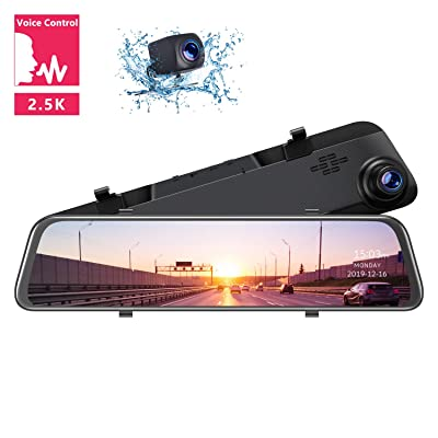 "TOGUARD 12"" 2.5K Mirror Dash Cam Voice Control Rear View Mirror Camera, Touch Screen Front and Rear Dual Lens Dash Camera for Cars Waterproof Backup Camera with Parking Assistance Super Night Vision: Car Electronics"