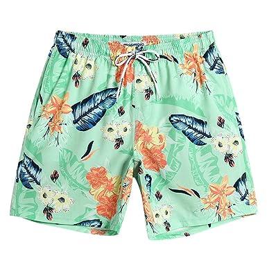 26c08906ce MaaMgic Mens Short 80s Swim Trunks with Mesh Lining 4 Way Stretch Quick Dry  Vintage Swim