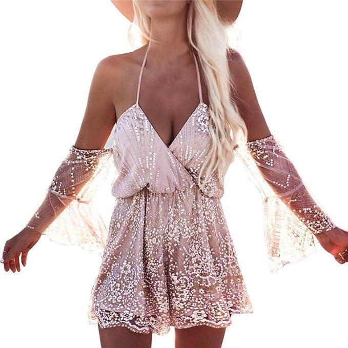 Mono mujeres, ❤️Xinantime Body de lentejuelas sexy para mujer Vestido de playa de verano Mono elegante del club: Amazon.es: Ropa y accesorios