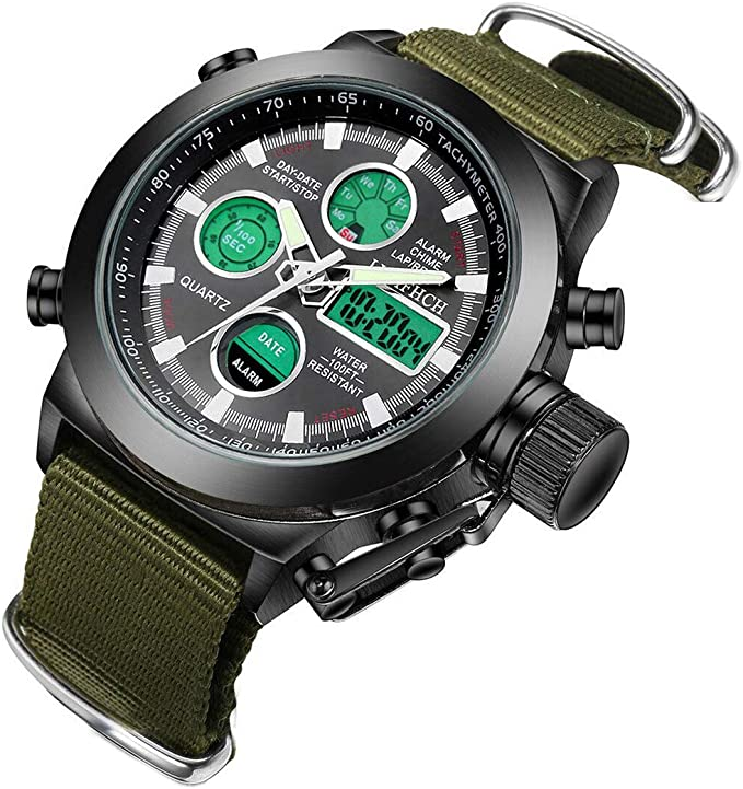 LYMFHCH Mens Black Big Face Sports Watch, LED Digital Analog Waterproof Military Luminous Stopwatch Army Green Wrist Watch