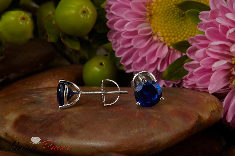 2.0CT Brilliant Round Cut Blue Simulated Diamond CZ Martini Fancy Stud Earrings 14k White Gold Screw Back
