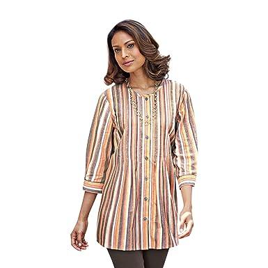 c8598b44d99c8 Blair Women s Plus Size Chambray Tunic - XL Chocolate Stripe at ...