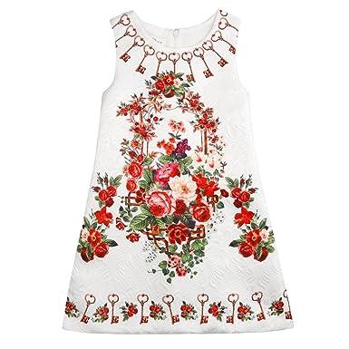 29f04f2b58fe Sanlutoz Summer Baby Girls Dress Vintage Print Children Sleeveless Kids  Dresses (3-4)