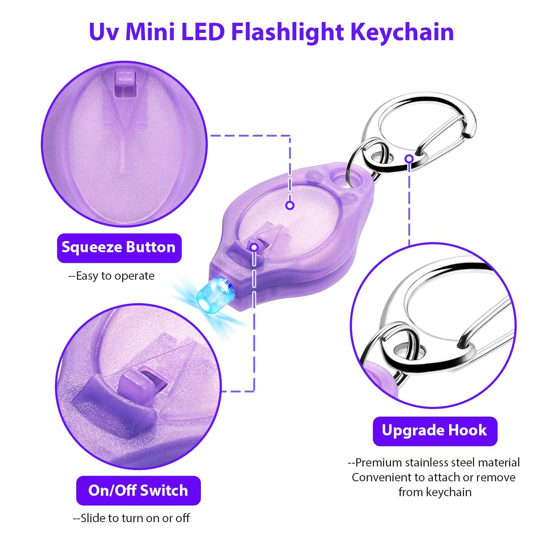 Frienda 20 Pieces Mini Keychain Flashlights LED Keychain UV Keychain Light Torch for Camping Party Festivals Traveling
