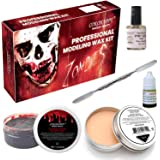 COKOHAPPY Halloween Party Stage Special Effects Wound Scar Nude Color Putty/Wax (1.76oz) + Fake Scab Blood (0.7oz) + Oil…
