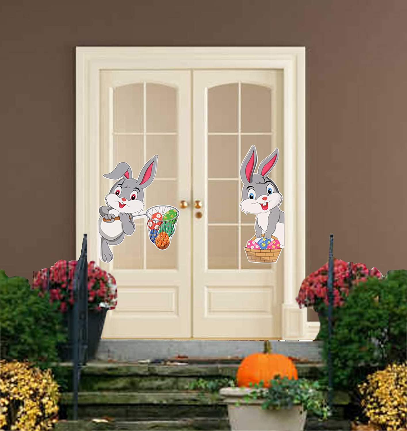 CCINEE 10pcs Easter Bunny Stickers Self Adhesive Cling Decals for Window Wall Floor Home Decoration