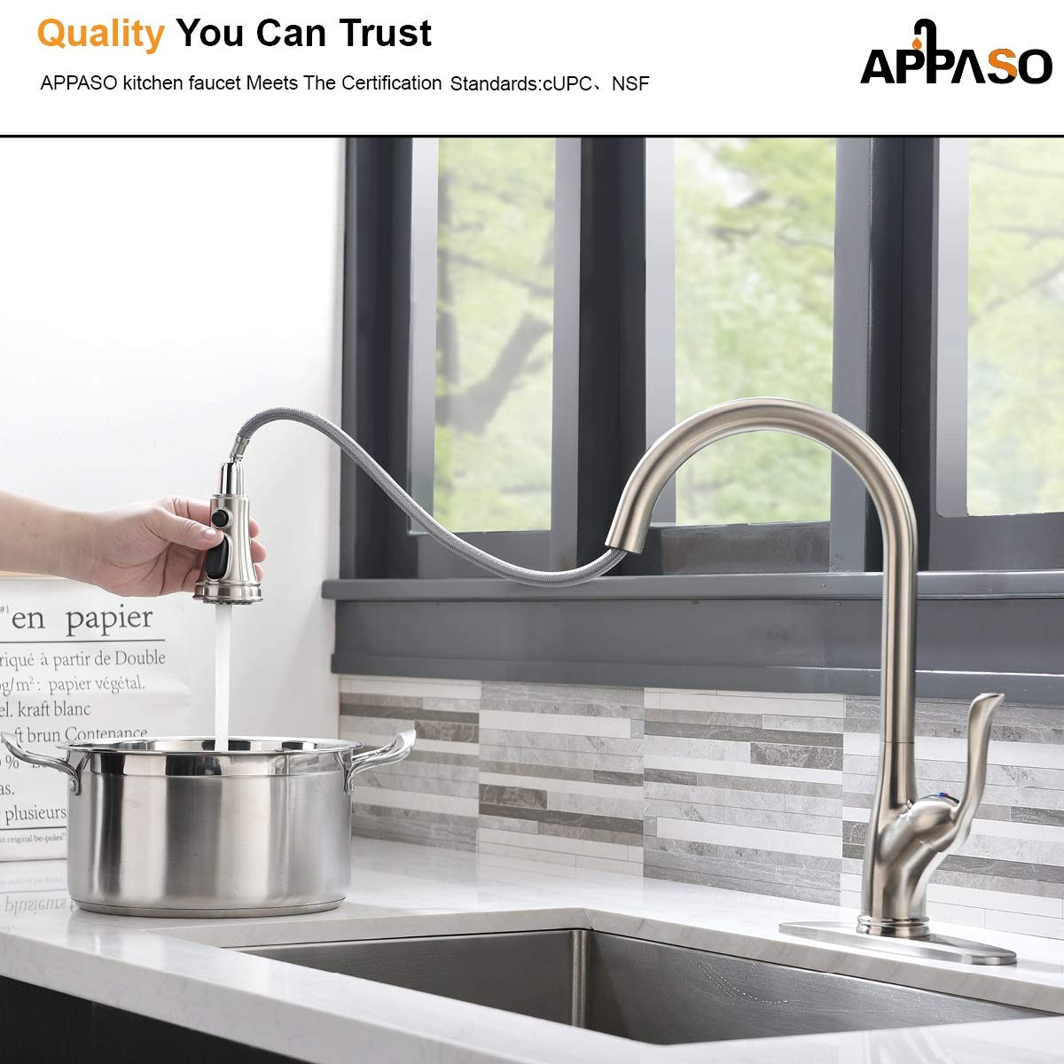 APPASO Single Handle Pull Down Kitchen Faucet with Sprayer, Stainless Steel Brushed Nickel High Arc Single Hole Pull Out Spray Head Kitchen Sink Faucet with Escutcheon by APPASO (Image #6)