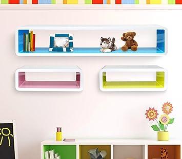Mensole Colorate Cameretta.Set 3 Mensole Rettangolari Colorate Componibili Di Design Effetto 3d Misure Diverse Laccato Lucido Media Wave Store
