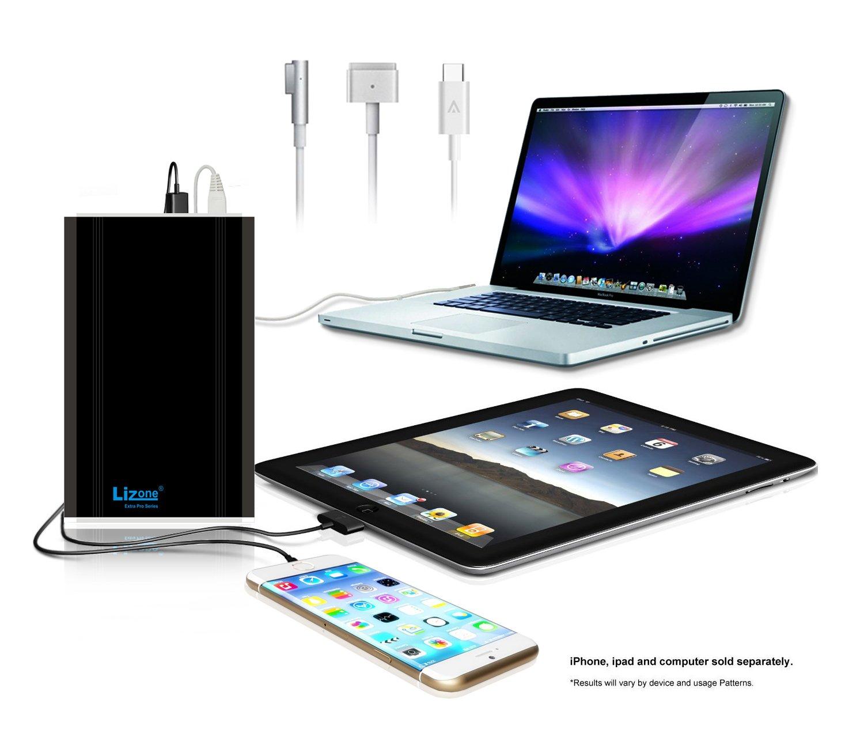 Lizone 50000mAH Extra Pro External Battery Charger for Apple MacBook, MacBook Pro, MacBook Air, USB QC Charger for Apple New MacBook 12 iPad iPhone 6 6S Plus 5S 5C 5 4 Samsung HTC & More, Black
