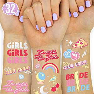 xo, Fetti Bachelorette Party Decorations Club Bride Temporary Tattoos - 32 metallic styles | Cool Bach Party Decor, Bride to Be, Engaged