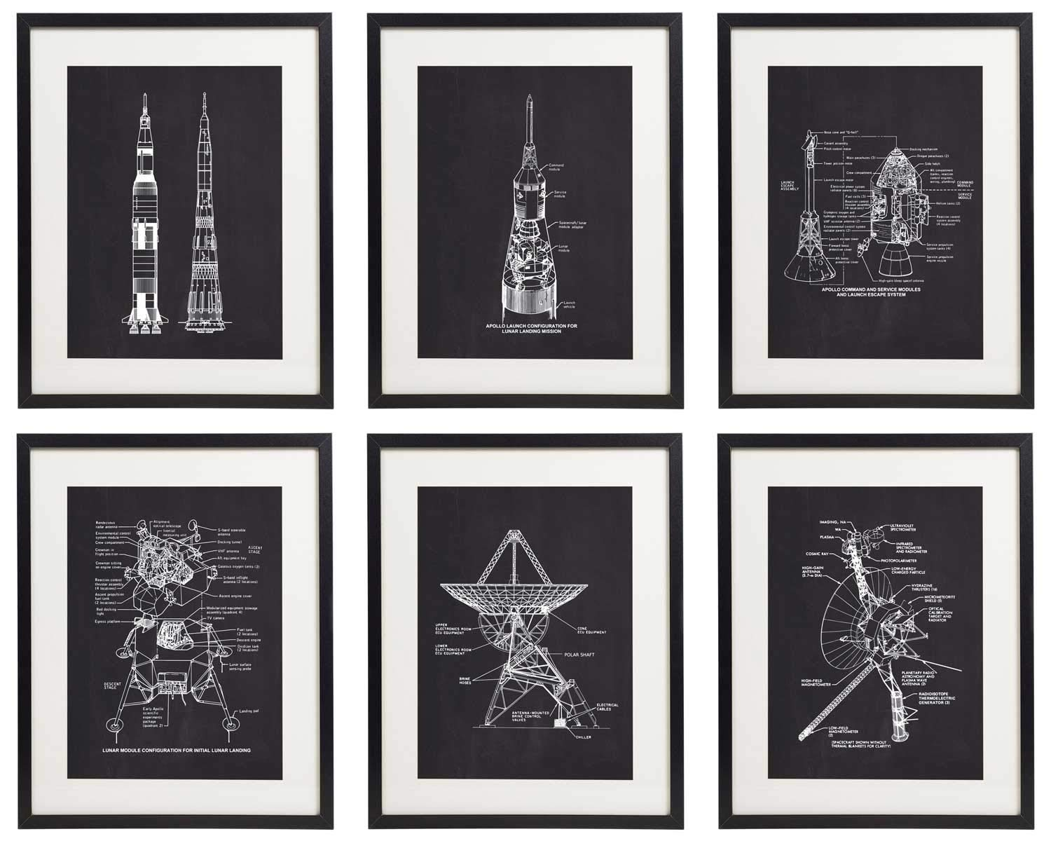IDIOPIX Space Patent Prints Home Decor Chalkboard Art Print Set of 6 Prints UNFRAMED No.3